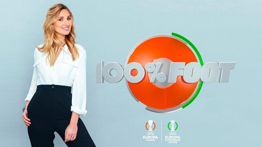 Marie Portolano aux commandes de 100% Foot pour l'Europa League et l'Europa Conference League sur W9
