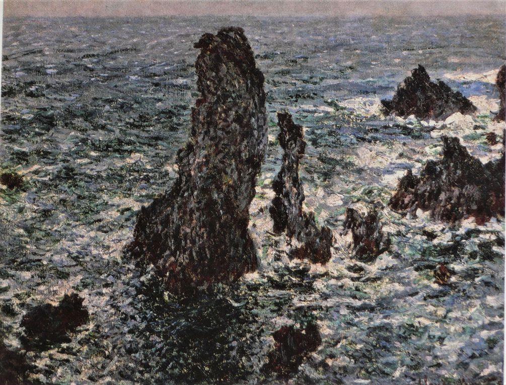 En 1866, durant 3 semaines, Monet peu connu vient peindre dans ce coin sud-ouest de Belle-Ile en mer: les Aiguilles de Port-Coton ( dia 2 ), et aussi plusieurs paysages marins devant le hameau de Domois. Le Grand-Phare a été construit en 1836, près des aiguilles.