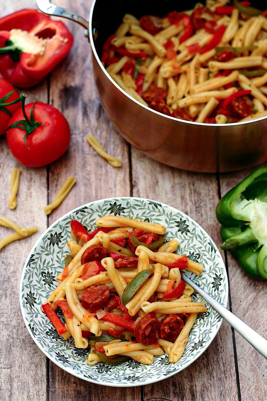 one pot pasta poivron chorizo