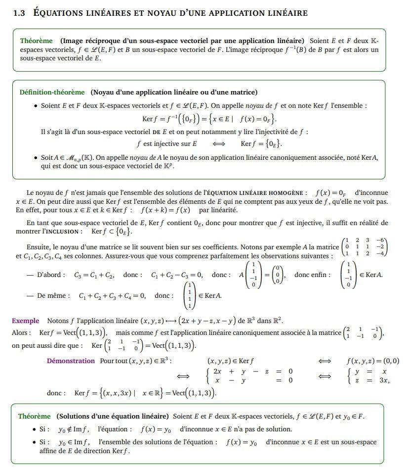 POST BAC - Applications linéaires