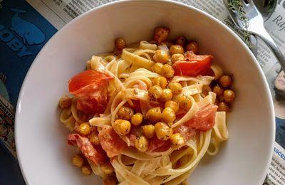 Tagliatelle tomates crème pois chiches #végétarien