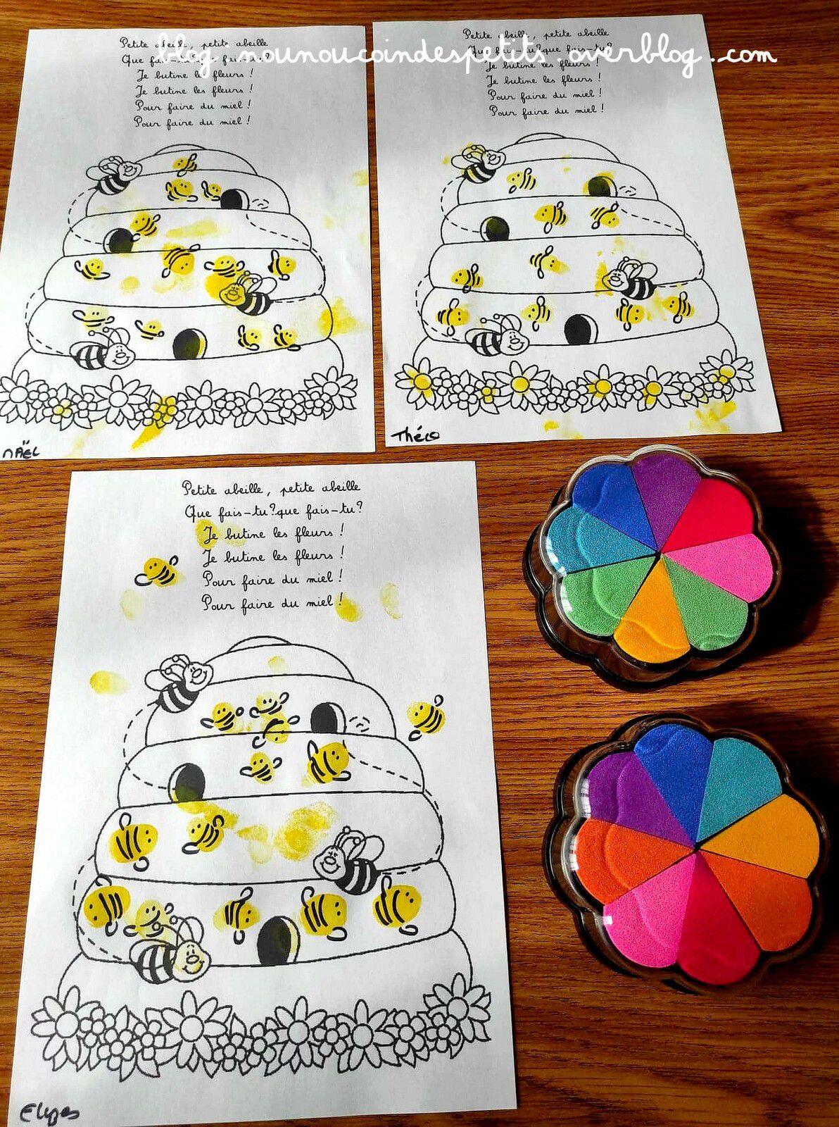 .. Bricolage enfant Les petites abeilles empreintes de doigts ..
