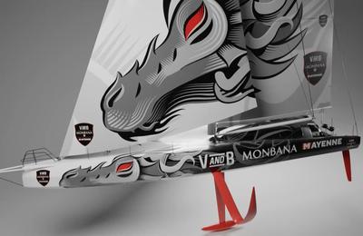 Vendée Globe : Maxime Sorel dévoile une décoration ultra spectaculaire de son futur monocoque avec un dragon gigantesque - visite 3D