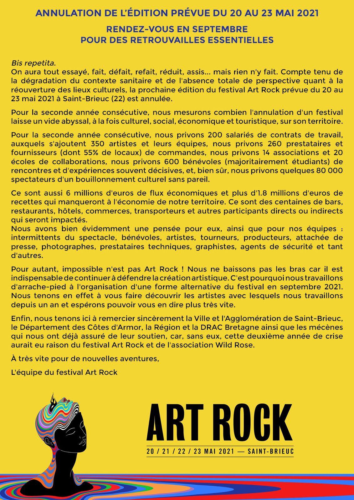 ART ROCK : annulation de l'édition prévue du 20 au 23 mai 2021