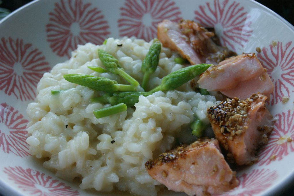 Risotto à l'ornithogale, saumon caramélisé et pané