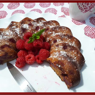 Moelleux amande chocolat blanc et framboises