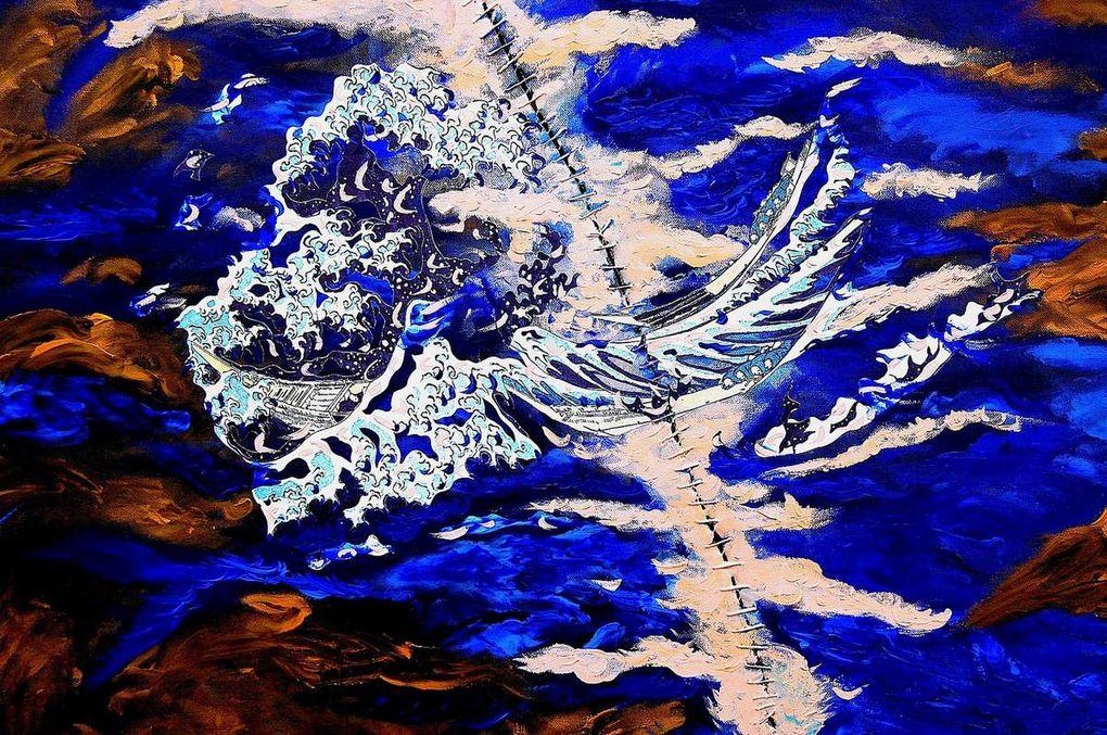 Peinture-collage sur toile (100 x 100)