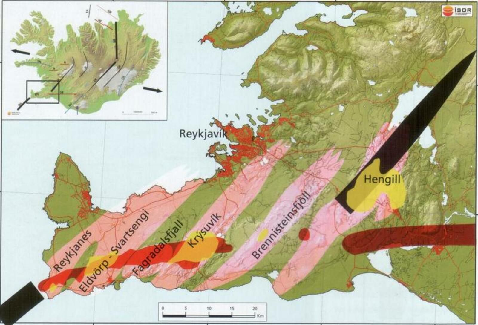 Reykjanes Peninsula - the different volcanic systems ... future eruptions may affect systems east or west of Fagradalsfjall - Doc. Web science via mbls