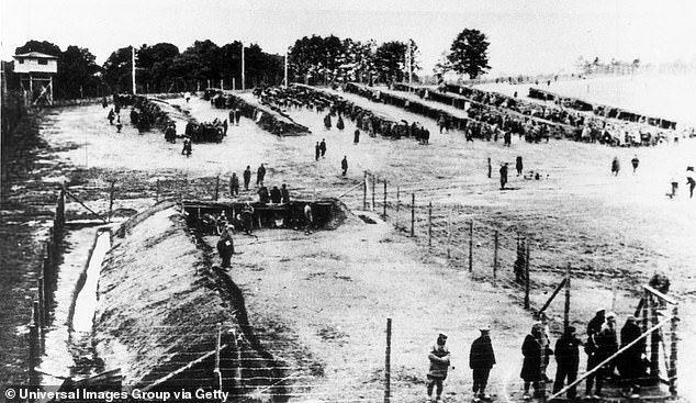In March 1945, evacuation marches towards the main camp in Neuengamme as Allied troops advanced led to the death of about 70 prisoners from exhaustion. Pictured: A so-called special zone in Erbke, Hanover military district, in autumn of 1941 where Nazis selected from there soviet POWs for annihilation in the Neuengamme concentration cam