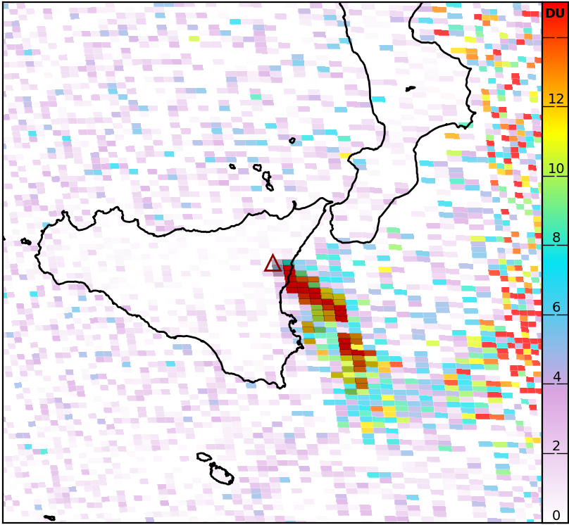 Etna - SO2 emissions from 02.02.2021 / 12:44 - Image Sentinel- 5P Via Mounts project