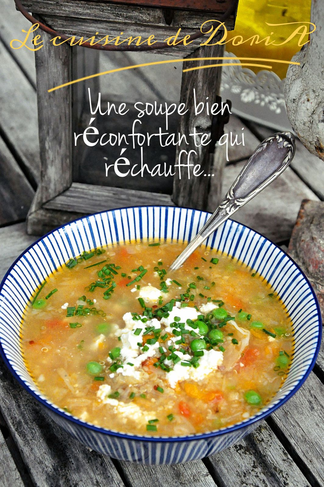 Soupe de quinoa, chou blanc, carotte, tomate et fêta