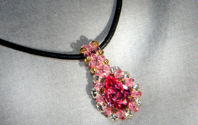 "Pendentif ""Princesse Rose"" (Swarovski Elements)"