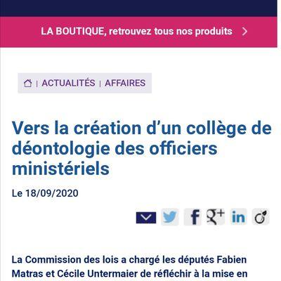 VERS LA CRÉATION D'UN COLLÈGE DE DÉONTOLOGIE DES OFFICIERS MINISTÉRIELS : Cécile Untermaier, une très bonne connaisseuse de ces questions, officiellement chargée d'y réfléchir
