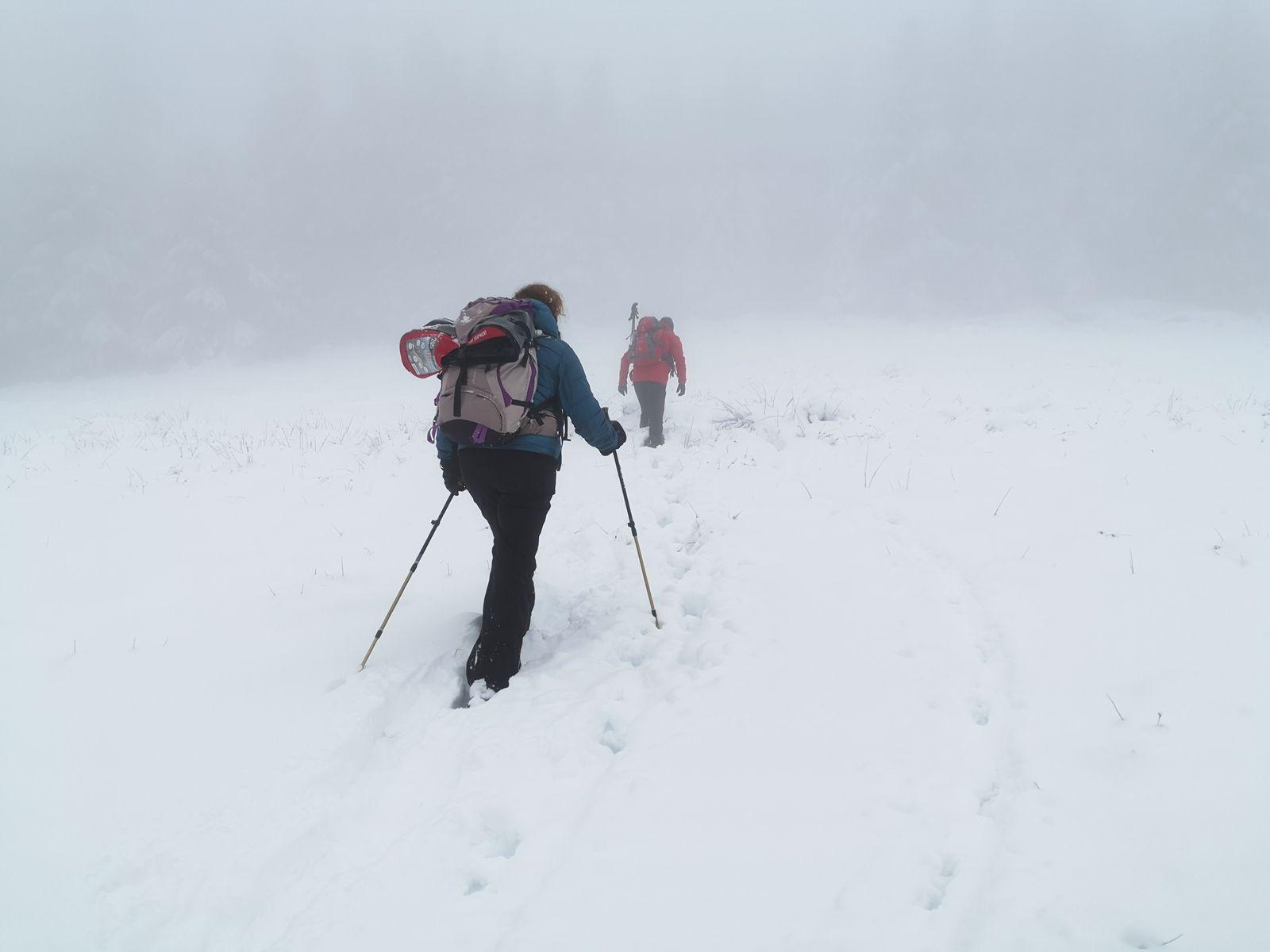 Il ne fait pas très beau, peu importe, de vraies conditions hivernales nous conviennent parfaitement.