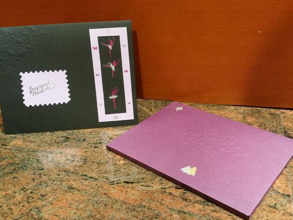 Carte; Enveloppe 3D; Noël; Femme; Danseuse; Kirigami; Fait maison.