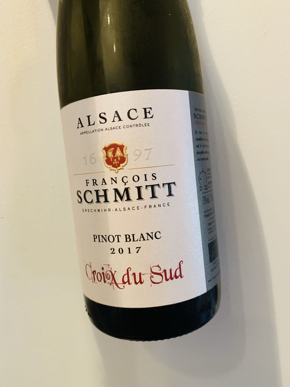 Alsace pinot blanc croix du Sud 2017 François Schmitt