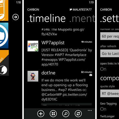 Client Twitter: Carbon for Windows Phone (Beta RC1)