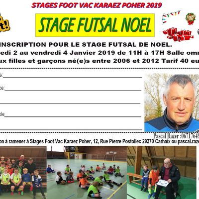 Inscriptions stage Futsal Noel
