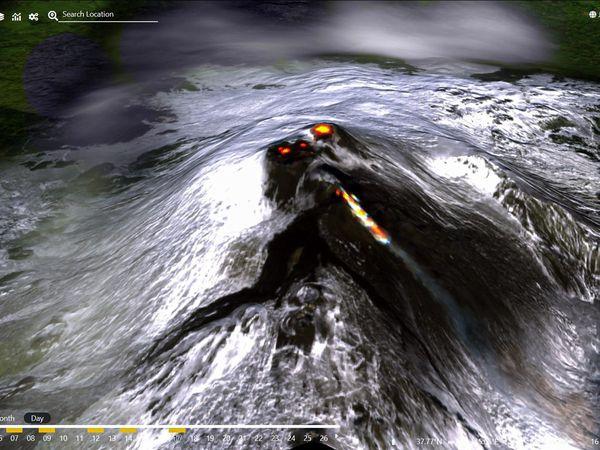 Etna - coulée de lave du SEC le 17.01.2021, à 8h55 et 11h45 / INGV Emot -- les cratères sommitaux avec un hot spot, et le SEC et la coulée dans la Valle del Bove - image Sentinel-2 via Antonio Vecoli - un clic pour agrandir