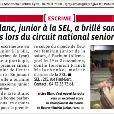 """Journal """"Le progrès"""" 30/09/14"""
