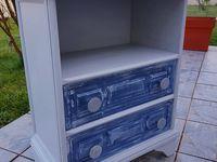 Meuble à tiroirs relooké. Couleur gris nuée (Libéron), couleur orage et chaulé gris colombe pour les tiroirs (Libéron)