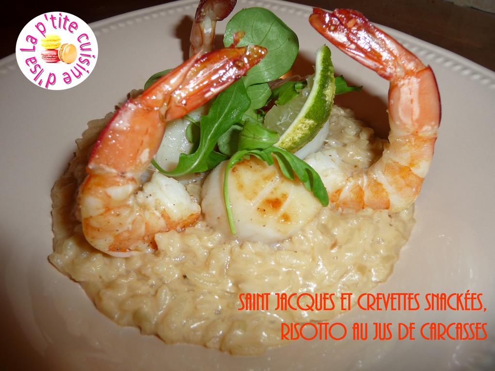 Saint Jacques et crevettes snackées, risotto au jus de carcasses