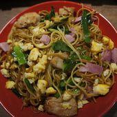 Nouilles chinoises sautées au poulet-Recette Réunion - Recettes de Papounet