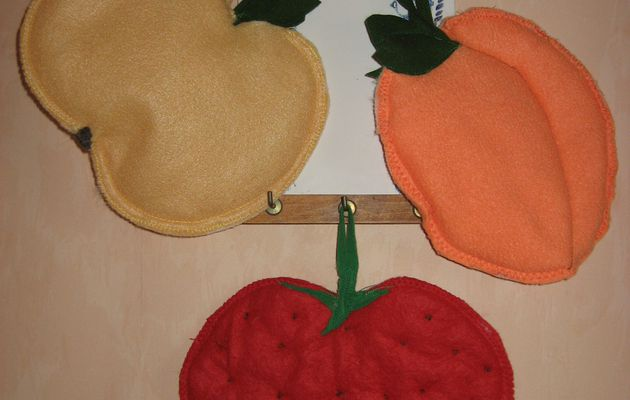 Trio de maniques thème fruits ( tutos rapides)
