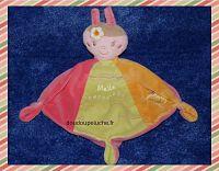 Doudou sauthon Melle coccinelle, rose vert jaune, velours, www.doudoupeluche.fr