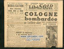 «Cologne bombardée», Libaration Soir, 28/2/1945.