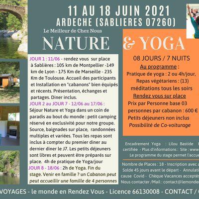 Séjours YOGA et NATURE - en ARDECHE du 11 au 18 Juin 2021