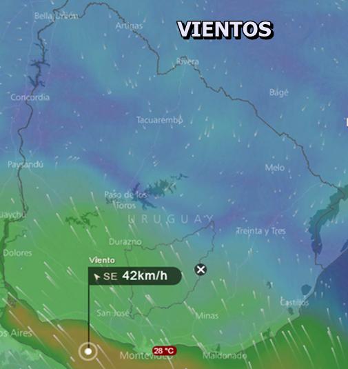 Los vientos en zonas costeras podran superar los 40 Km/h