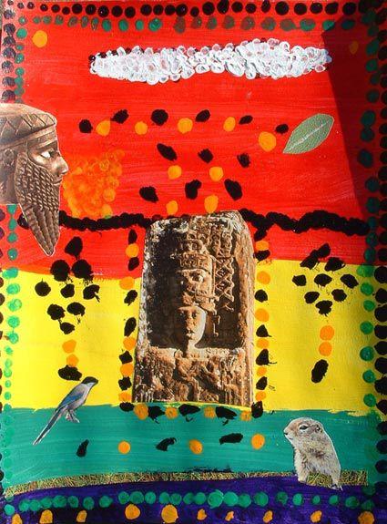 Découvrez les oeuvres de ces artistes en herbe...Inspirés par le tableau offert pour Noël (Rhino)...et un peu peut-être par les aborigènes d'Australie (inconsciemment !)