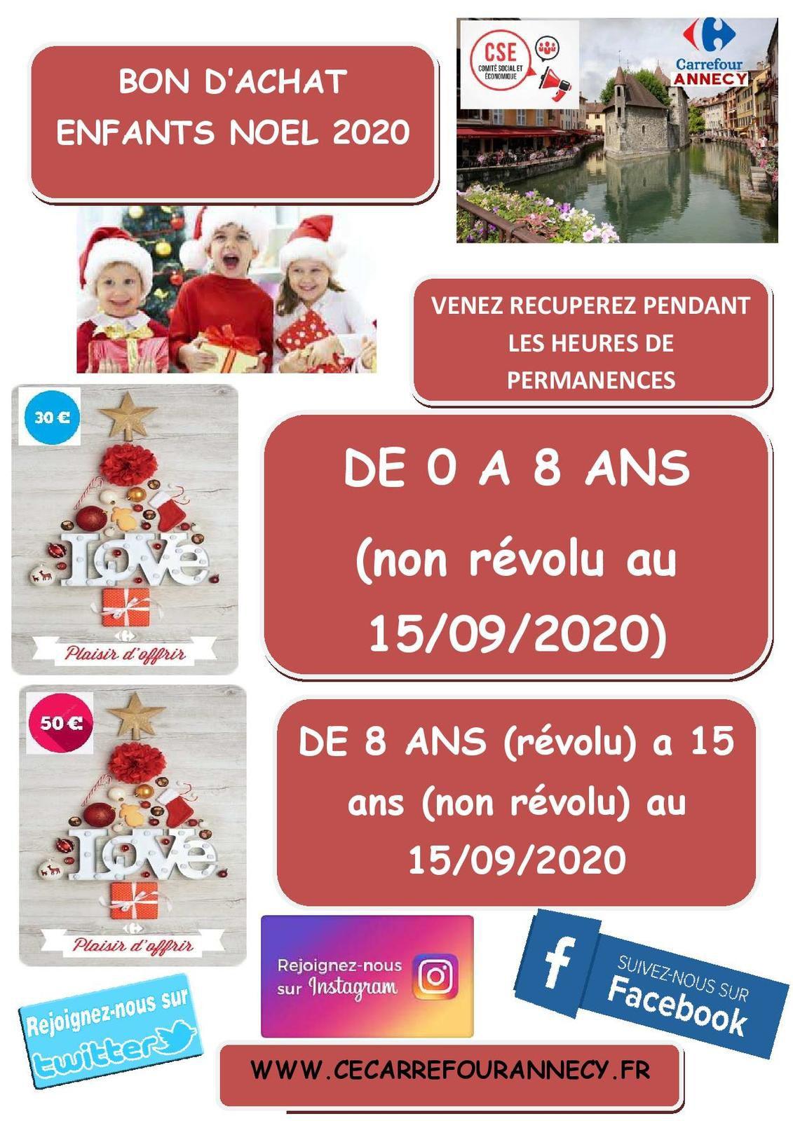 BON D'ACHAT ENFANTS NOEL 2020 (DISPONIBLE PENDANT LES HEURES DE PERMANENCES)