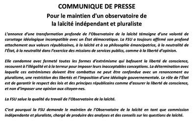Communiqué FSU : pour le maintien d'un observatoire de la laïcité indépendant et pluraliste