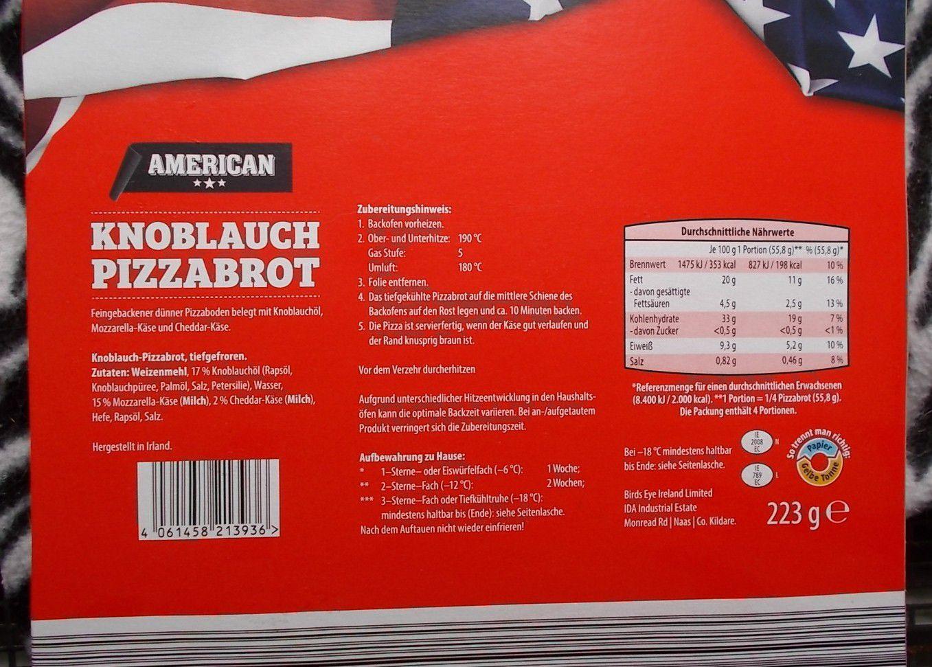 Aldi American Knoblauch Pizzabrot