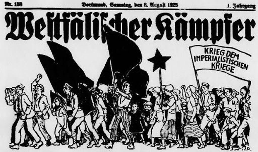 Combattants westphaliens. Guerre à la guerreimpérialiste! Dortmund, samedi 8 août 1925. http://www.dortmund-postkolonial.de/?page_id=2152
