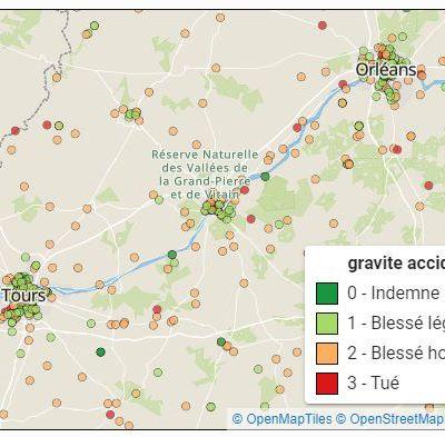 La société Koumoul.com propose une cartographie de l'accidentalité cycliste de 2005 à 2017 !  De quoi entamer un diagnostic territorial ?