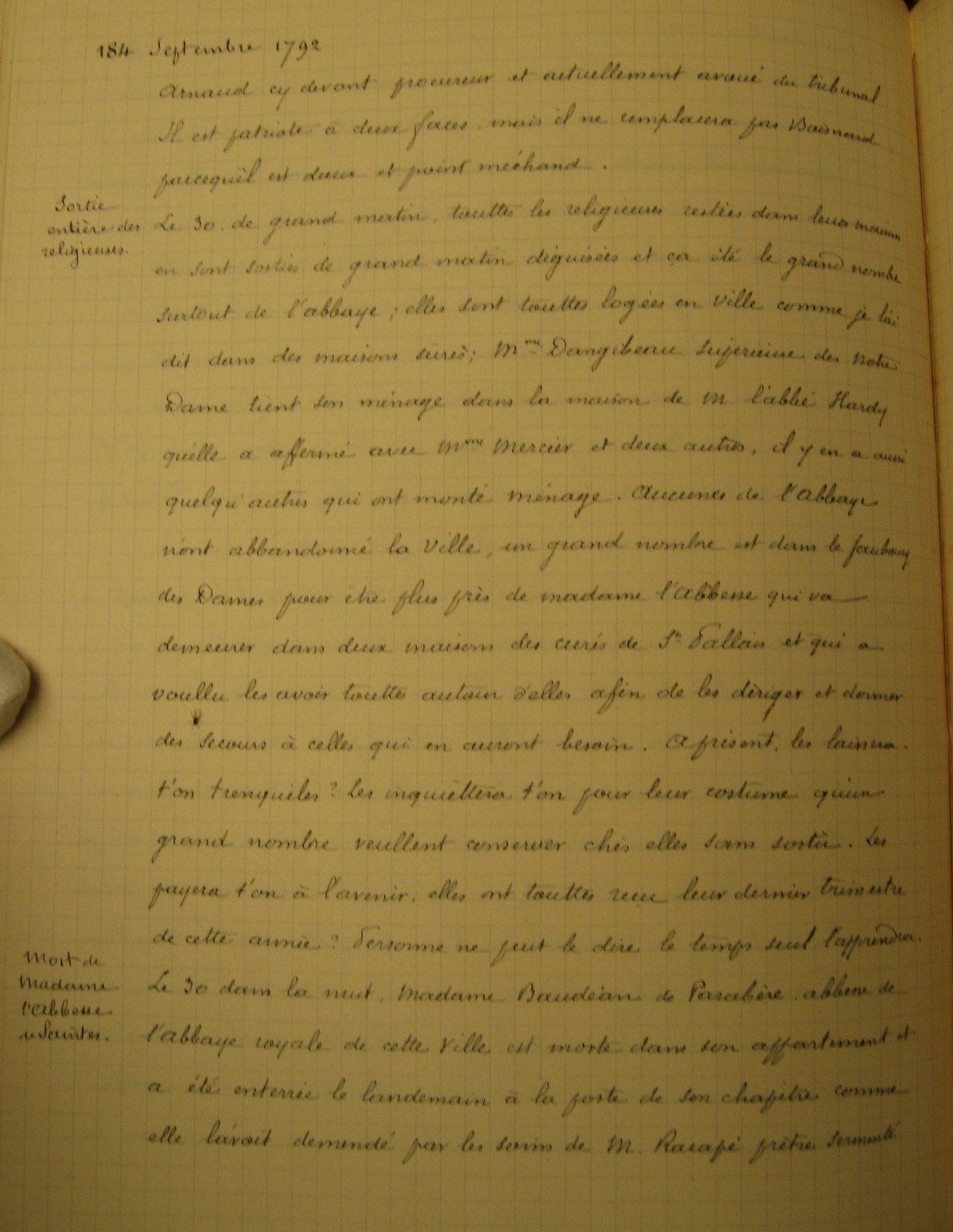 Affaire des cloches de l'abbaye aux Dames....  Les biens de l'abbaye avaient été vendus à l'encan pour les finances de la révolution.