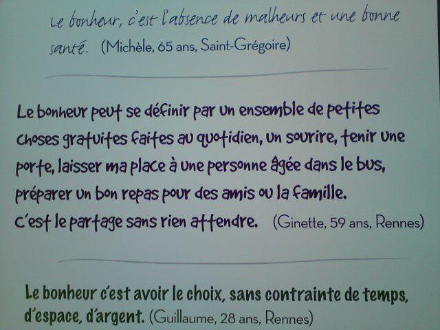 Petites phrases et images sur le bonheur (Forum Libération, Rennes 2010)