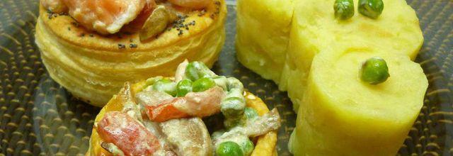 feuilletés au saumon petits légumes et écrasé de pommes de terre
