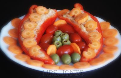 Rohkost schnell gemacht: Paprika mit Zucchini-Füllung
