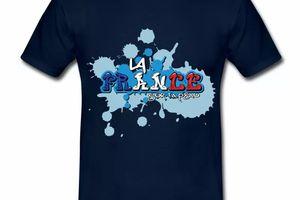 T shirt bleu marine pour hommes La France sur ta peau en bleu blanc rouge