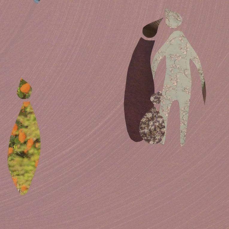 """Les Collages d'eMmA MessanA, quelques détails du collage """"Donne-moi la main"""", pièce unique © eMmA MessanA"""