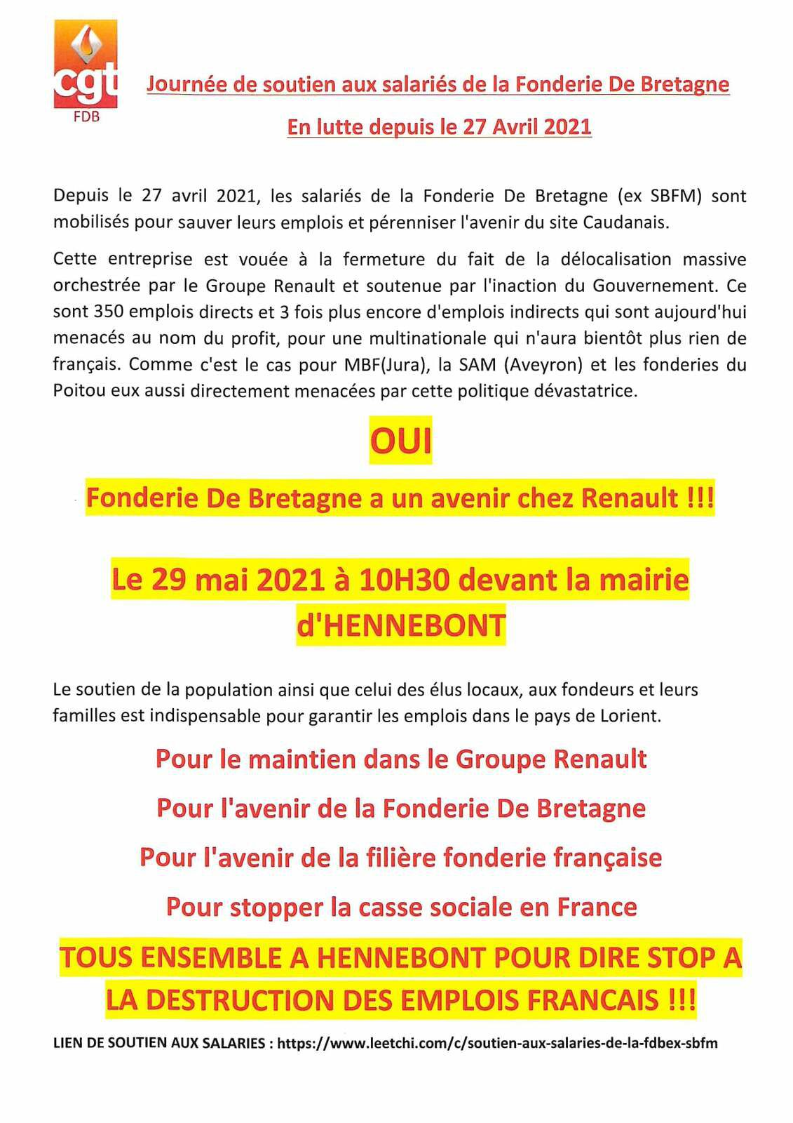Fonderie de Bretagne: 2000 manifestants dans les rues d'Hennebont ce samedi 29 mai