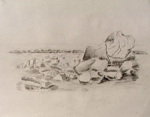 Croquis : stylisation des rochers de la plage du cap Gris Nez.
