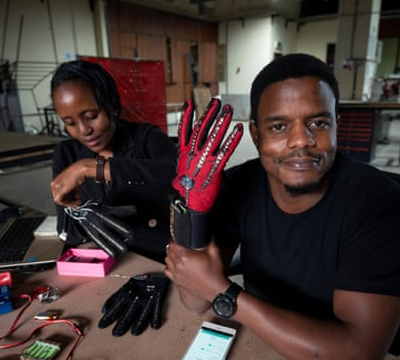KENYA - 25-year-old Kenyan invents smart gloves that convert sign language movements into audio speech