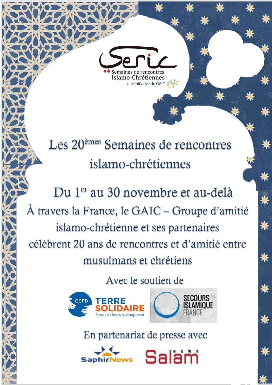 "4) 20ème ""Semaines de Rencontres Islamo-Chrétiennes"" (SERIC) : Nov. 2020"