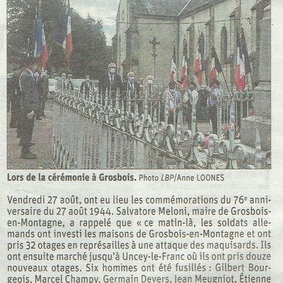 27 août 1944-27 août 2020-Grosbois-en-Montagne & Uncey-le-Franc-Devoir de mémoire