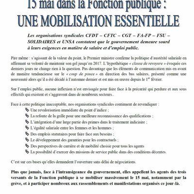 Jeudi 15 mai : Mobilisation dans la Fonction Publique